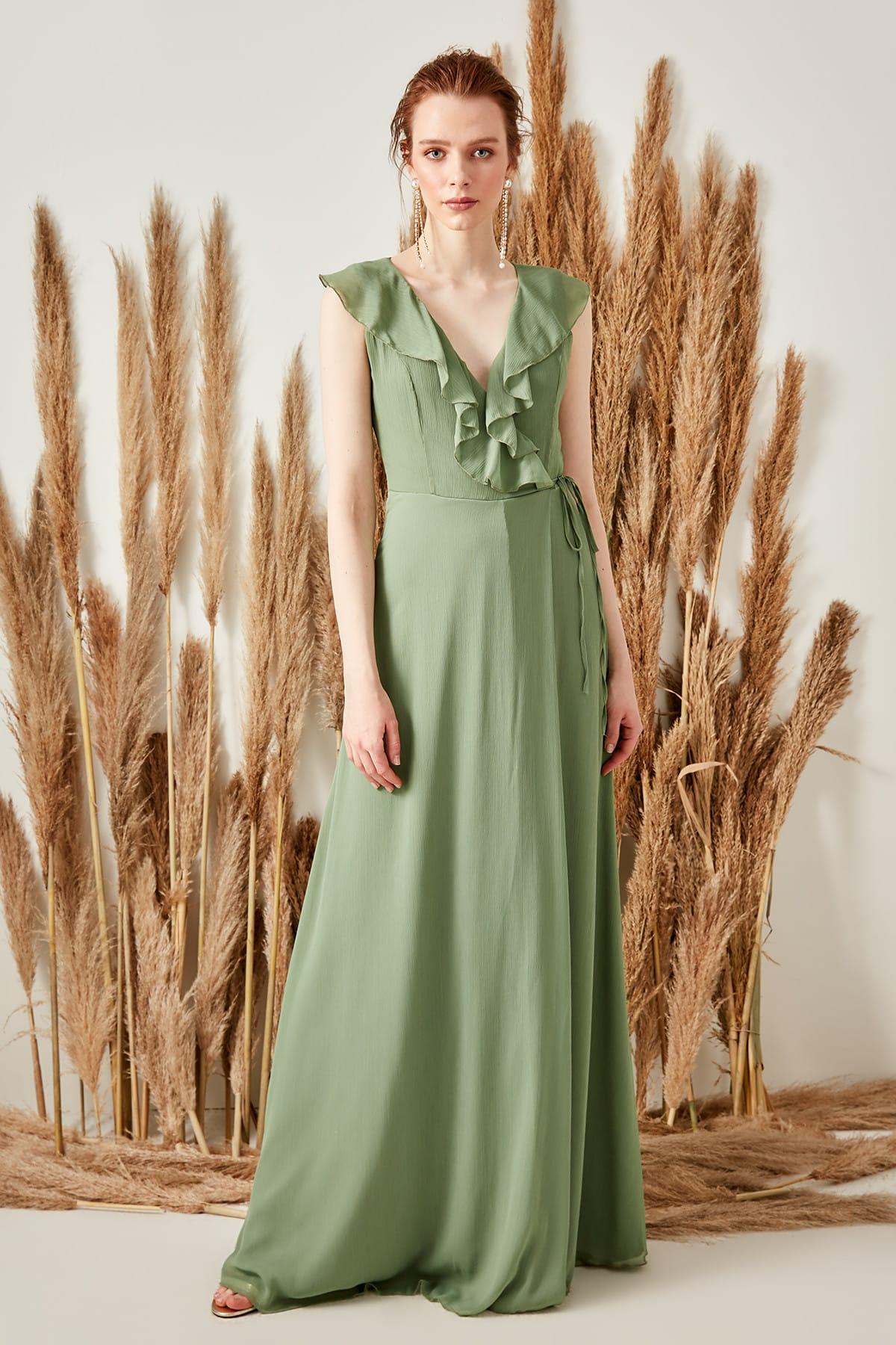 Trendyol Collar Detailed Wraped Evening Dress TPRSS19FZ0135