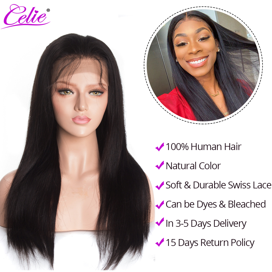 Image 3 - Celie Hair Lace Front Human Hair Wigs Pre Plucked Brazilian Straight Lace Front Wig 150 180 250 Density 360 Lace Frontal Wig-in Human Hair Lace Wigs from Hair Extensions & Wigs
