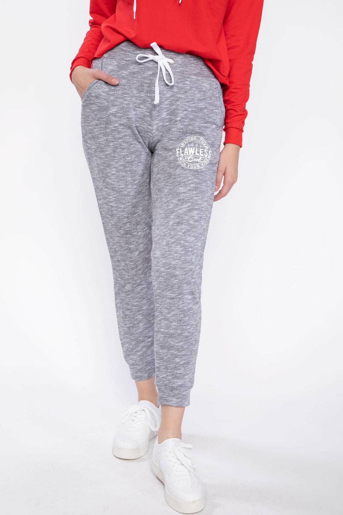 DeFacto Fashion Women Casual Jogger Pants Female Loose Drawstring Sweatpant Gray Sports Crop Trousers Ladies-J3329AZ18AU
