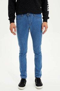 DeFacto Man Summer Straight Blue Denim Jeans Men Casual Fit Mid-waist Denim Bottoms Male Denim Trousers-L3438AZ19SM