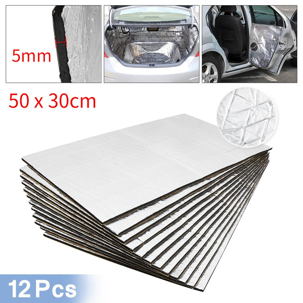Uxcell 9pcs/12pcs 50cm*30cm Sound Deadener Heat Insulation Mat Car Van Sound Proofing Deadening Insulation Car Hood Insulation