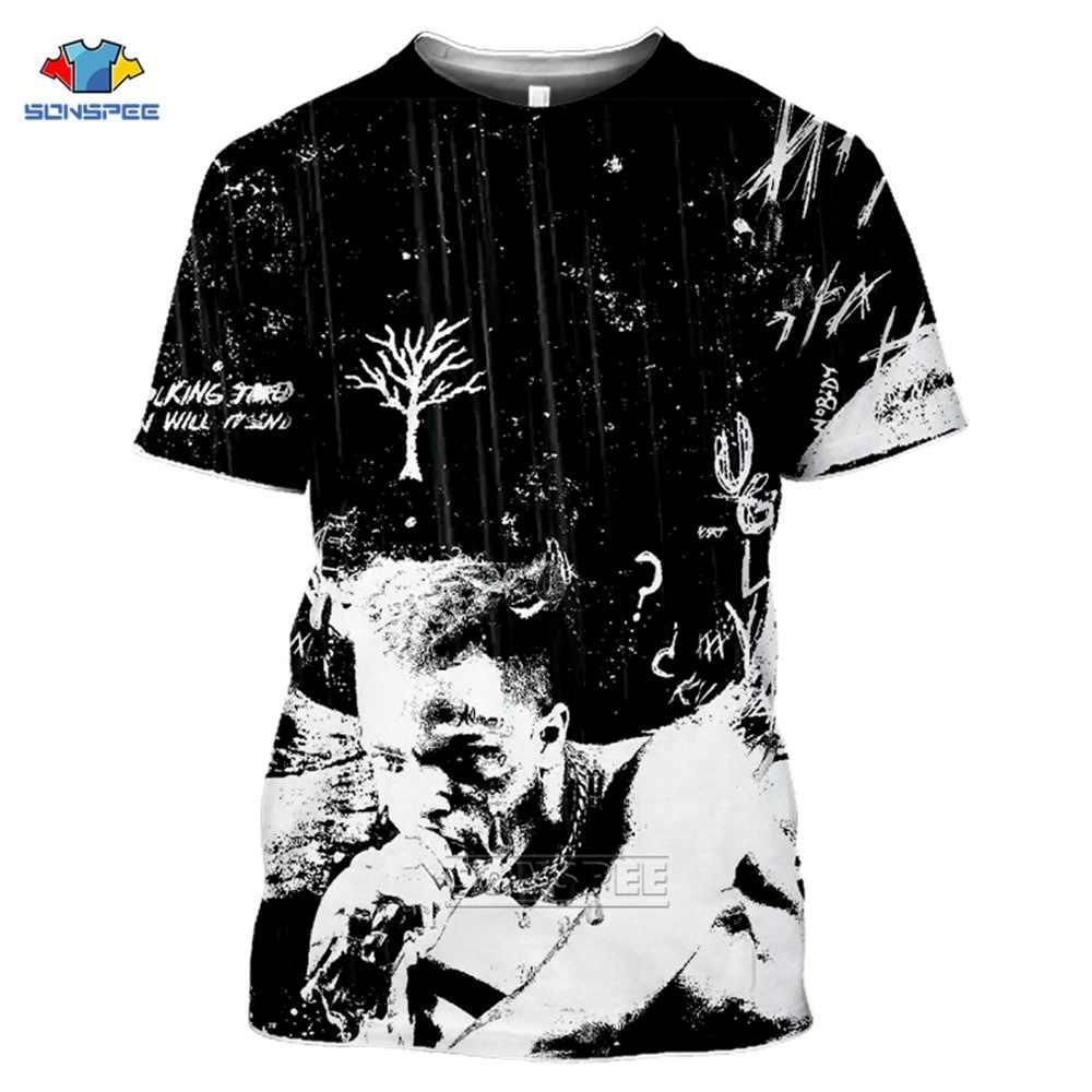 SONSPEE New Xxxtentacion 3D T 셔츠 남성/여성 패션 Streetwear 힙합 스타일 랩퍼 Xxxtentacion 3D Print Mens T 셔츠 Top H33