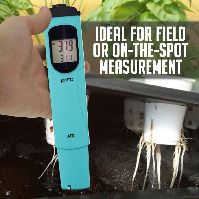 Pen type pH & Temperature Meter Tester 0.00 14.00pH & 0.0 55.0degC Range Water Quality Tester Kit w/ ATC Dual level LCD