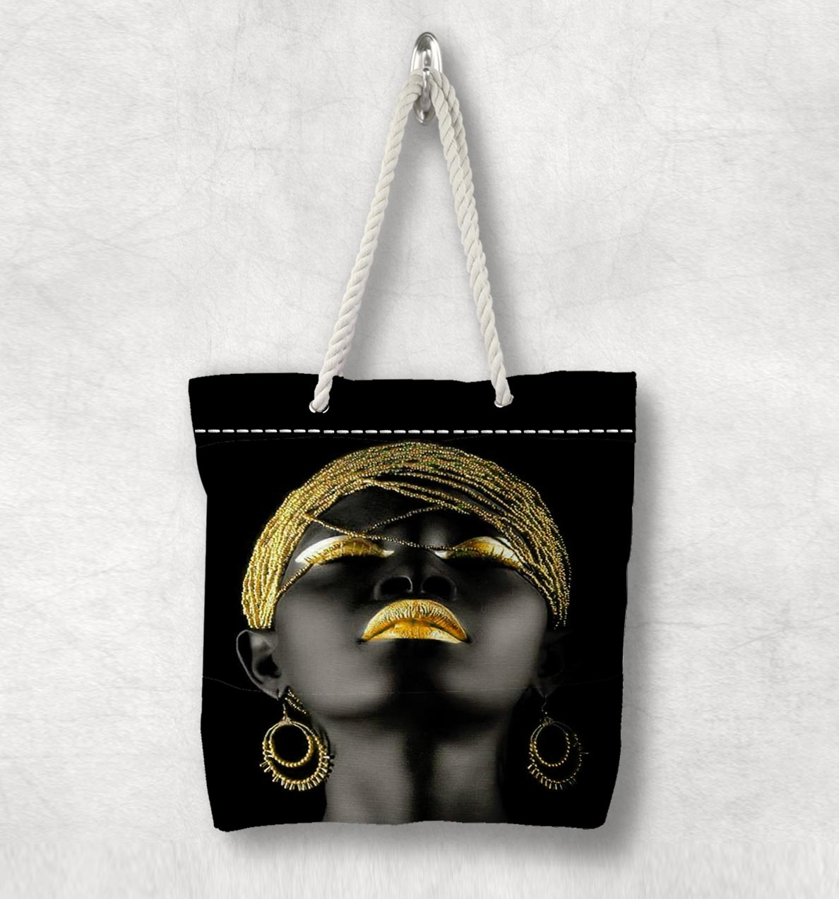 Else Black Girl Yellow Hair Lips New Fashion White Rope Handle Canvas Bag Cotton Canvas Zippered Tote Bag Shoulder Bag