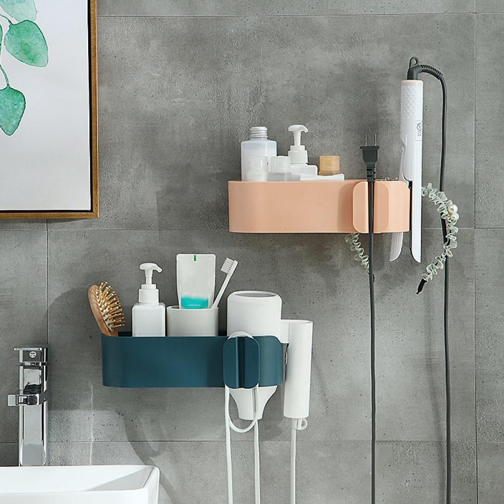 YLST Multifunction Bathroom Storage Hair Dryer Holder Shower Organizer Wall Hair Dryer Holder Comb Rack Stand Bathroom Supplies