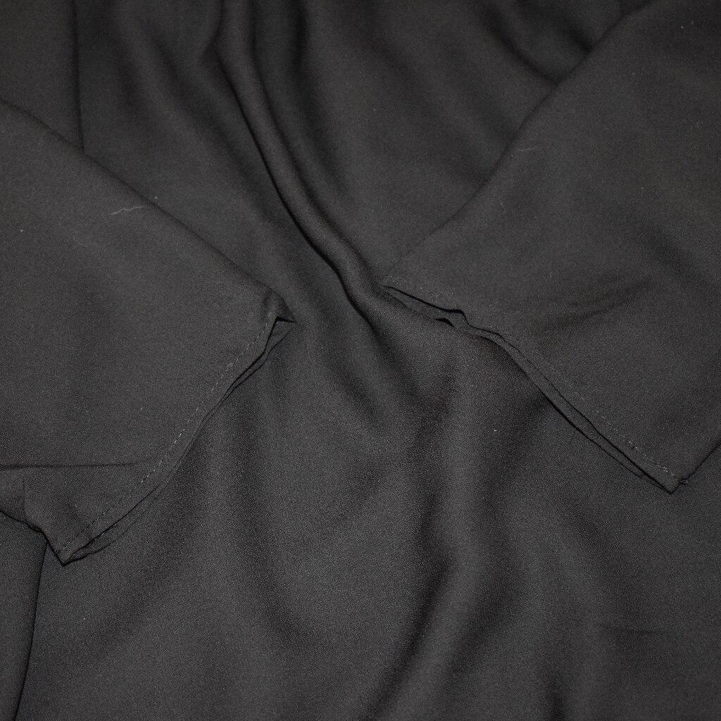 Hot 2019 autumn new fashion women's temperament commuter puff sleeve small high collar natural A word knee Chiffon dress reviews №8 342823