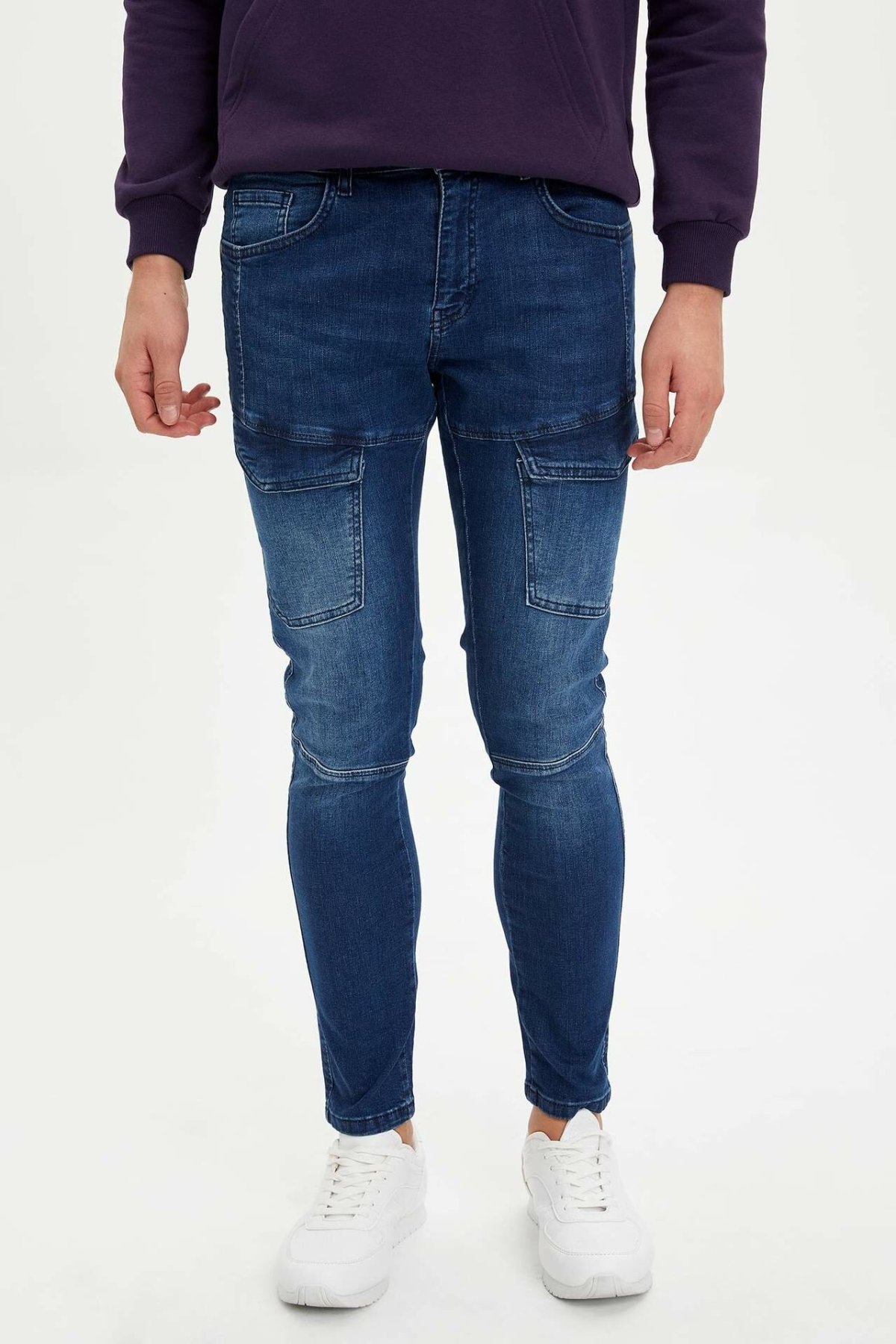 DeFacto Man Winter Blue Denim Jeans Men Pocket Decors Denim Long Pants Male Casual Slim Denim Trousers-M7115AZ19WN