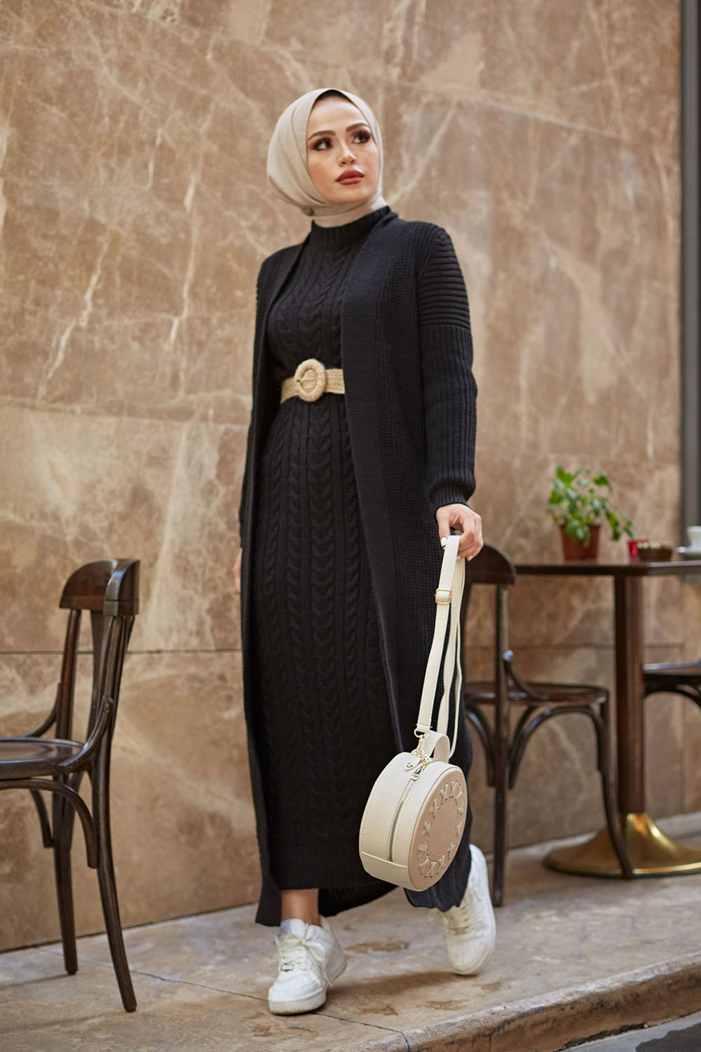 New Version 2 Pieces Woman Dress Knitted Suit Long Cardigan and Maxi dress Muslim Fashion