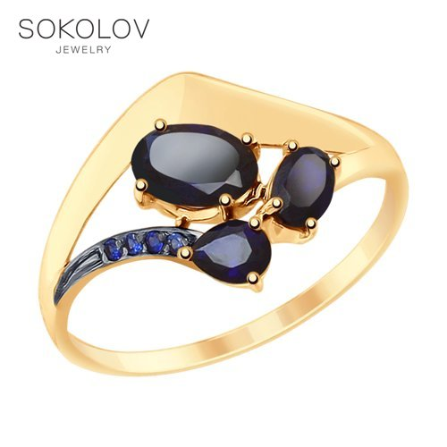 SOKOLOV Ring Gold With Blue Corundums And Cubic Zirkonia Fashion Jewelry 585 Women's Male