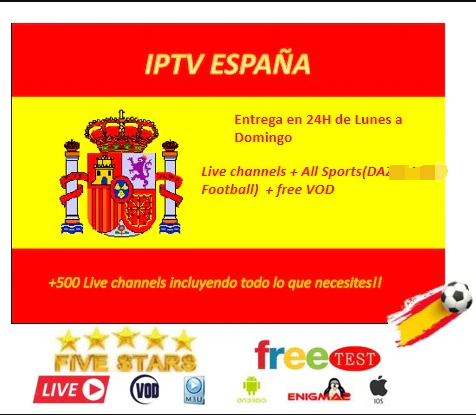 IPTV Spain One Year Suscription Channels Sport DA Z N NB A Football M3U Android Smart TV MAG VLC Enigma 100 Guaranteed And Stabl
