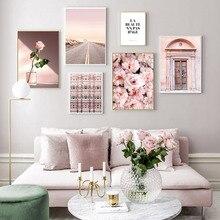 Rubor Rosa peonías Rosa Vintage puerta pared cuadros lienzo pinturas carteles e impresiones para sala de estar hogar decorativo