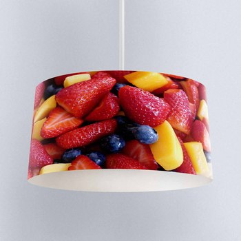 Else Slice of Colored Fruits Strawberry Printed Fabric Kitchen Chandelier Lamp Drum Lampshade Floor Ceiling Pendant Light Shade