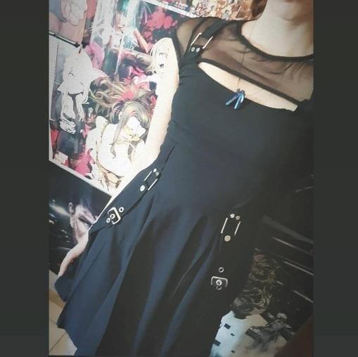 Gothic Sexy Dress Summer Dress Women Vintage Black Mesh Streetwear Hipster High Waist Solid Dresses Party Nightclub Mini Dress photo review