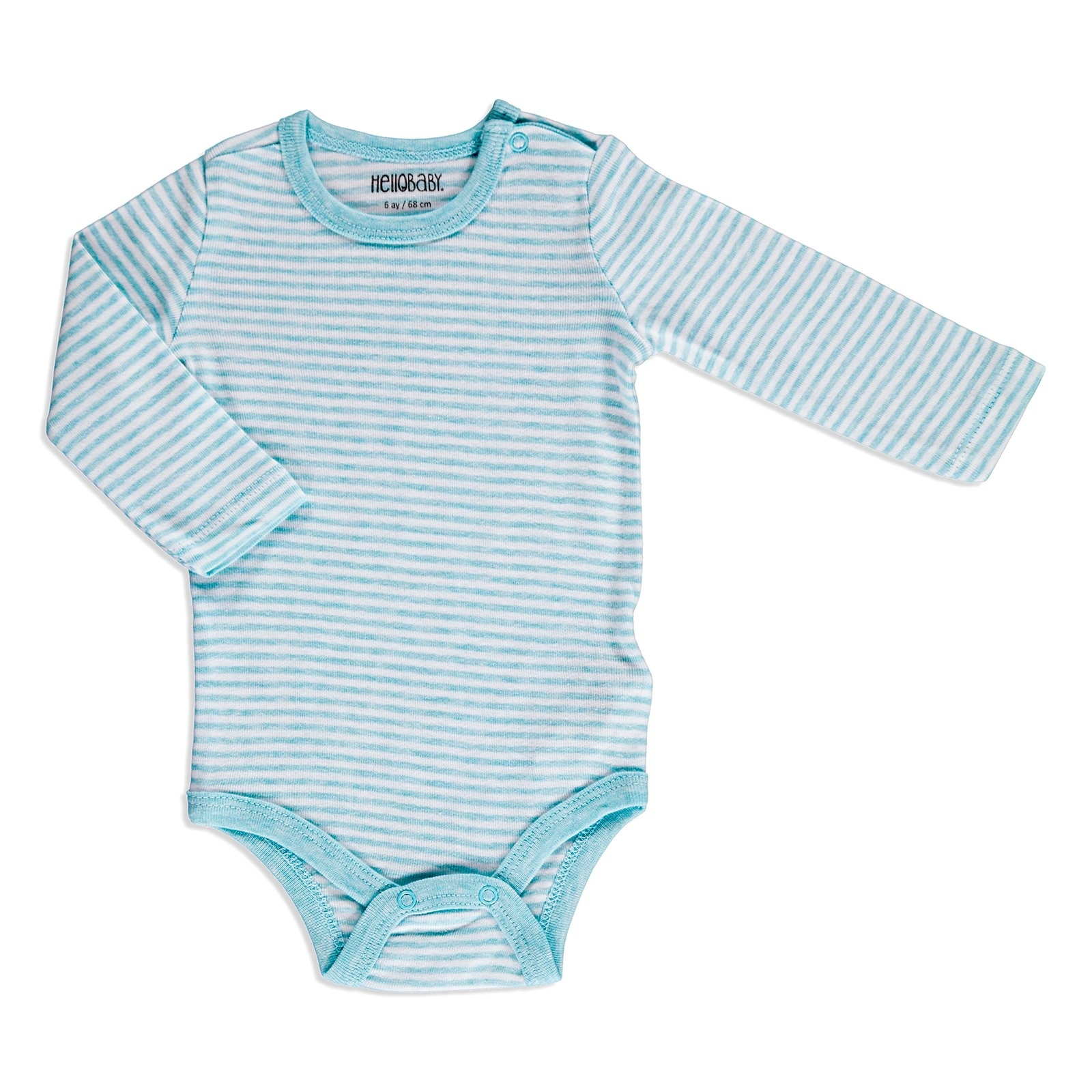 Ebebek HelloBaby Striped Rib Baby Long Sleeve Snaps Neck Bodysuit