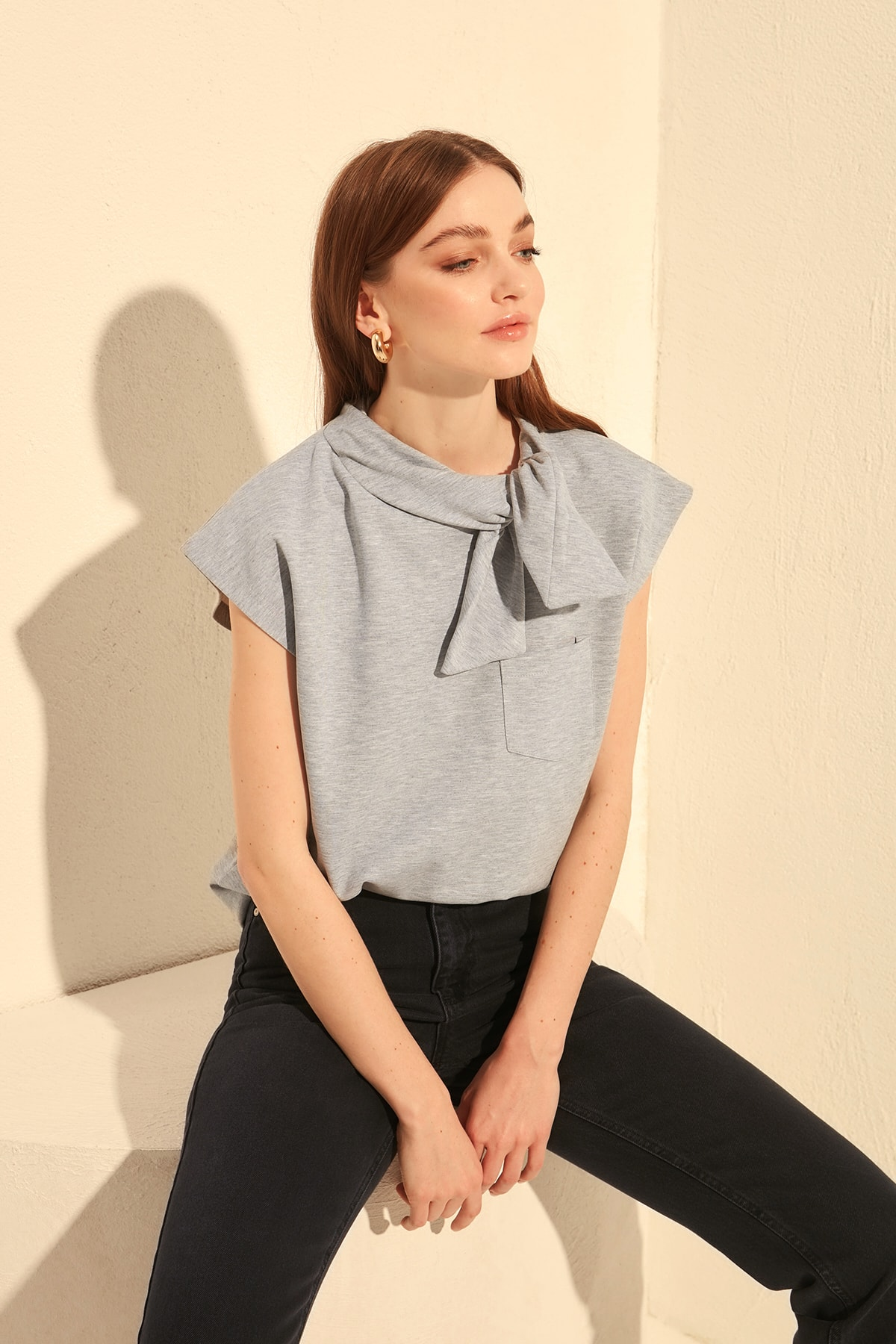 Trendyol Collar Detailed Knitted Sweatshirt TWOSS20SW0135