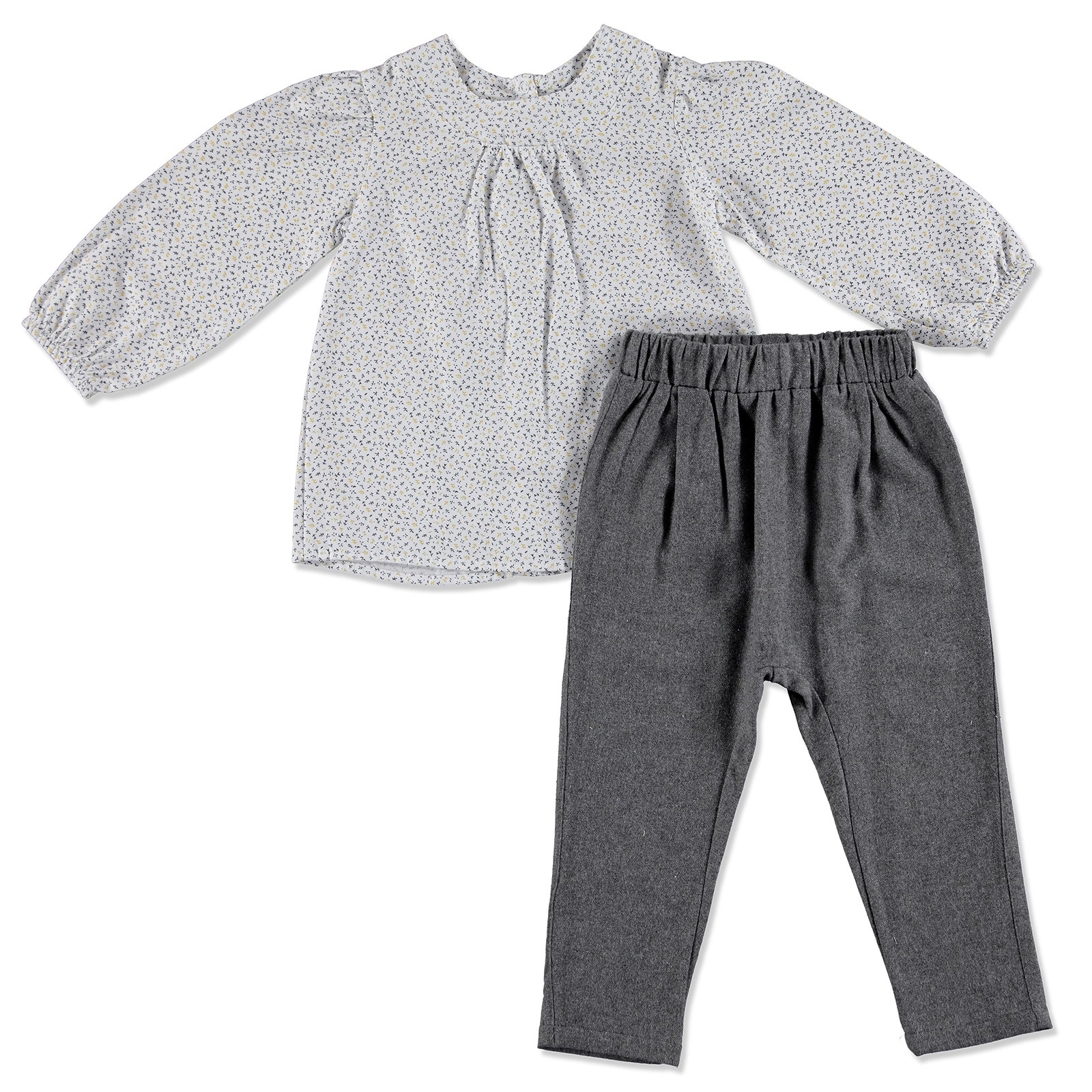 Ebebek HelloBaby Yellow Flower Theme Baby Texture Shirt Trousers Set
