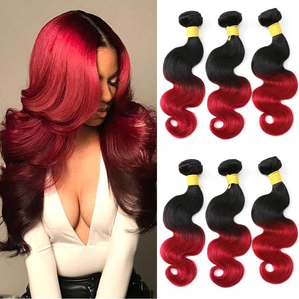 Эффектом деграде (переход от темного к волнистые пряди бразильских волос Плетение 3/4 пряди 1B бордовый 1b 27 30 1B/4/27 1B/4/30 Реми Пряди человеческих волос для наращивания