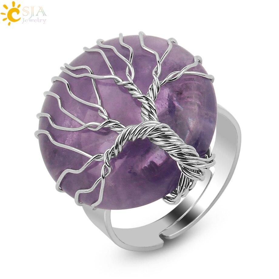Csja natural pedra redonda anel de cabochão cor prata reiki árvore da vida fio envoltório dedo anéis tamanho ajustável para mulher g241