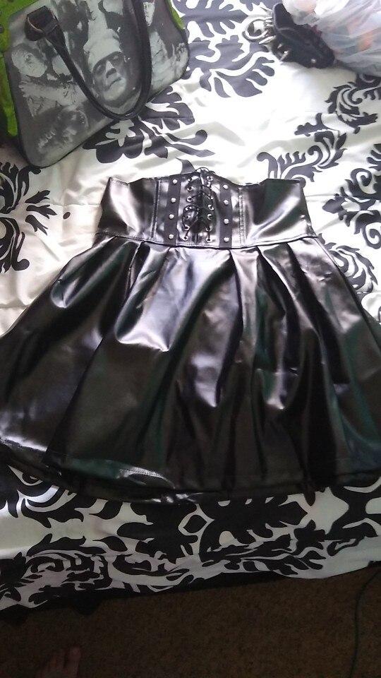 Women'S Skirts Gothic Harajuku Bandage Faux Leather Korean Fashion Black Mini Pleated Skirts Summer Party Pu Saias photo review