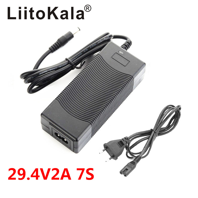 LiitoKala High Quality 29.4V 2A Electric Bike Lithium 18650 Charger For 24V 2A Lithium Battery Pack Plug Connector Charger