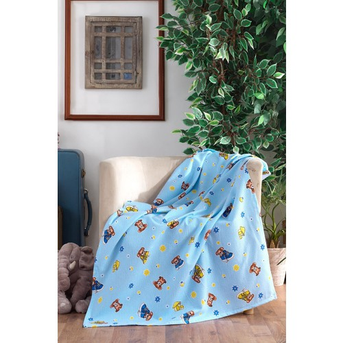 100 Cotton Baby Blanket Blue Bear