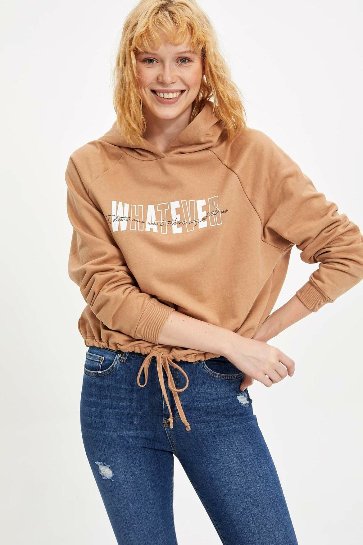 DeFacto Woman Khaki Color Long Sleeve Sweat Shirt Women Autumn Winter Pullovers Hoodies & Sweatshirts Tops-M4809AZ19WN