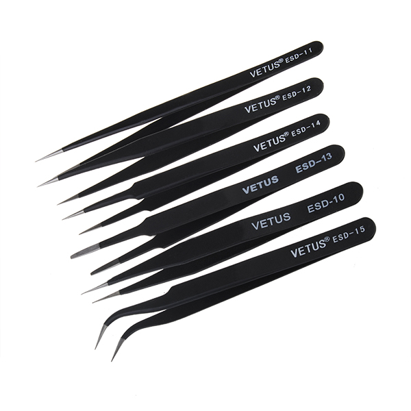 6Pcs Anti-Static Different Size Vetus ESD Tweezers <font><b>ESD10</b></font> to ESD15 image