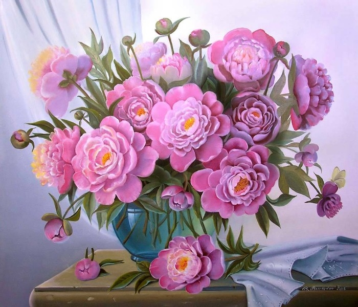 Painting By Numbers Pink Bouquet, 40x50 Cm
