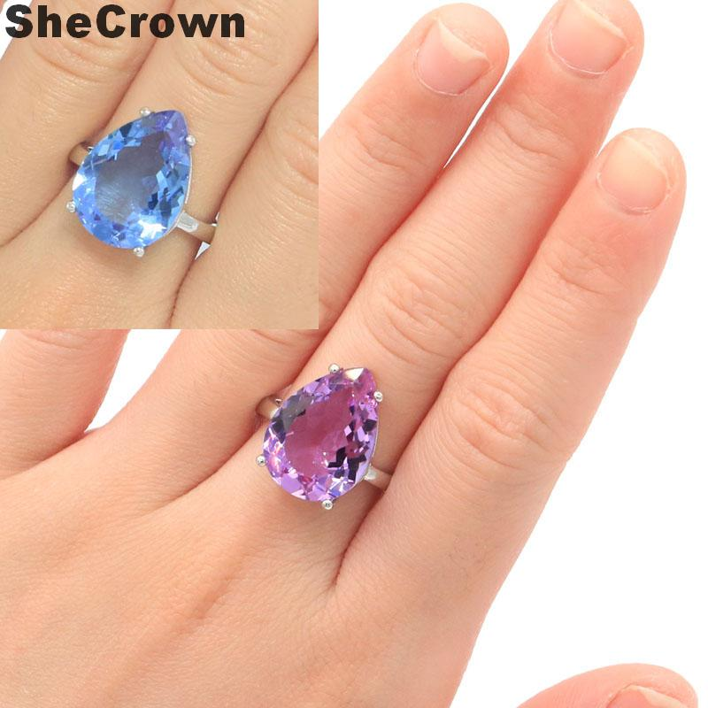 18x13mm Elegant Created Color Changing Alexandrite & Topaz SheCrown Gift For Sister Jewelry Making Silver Rings