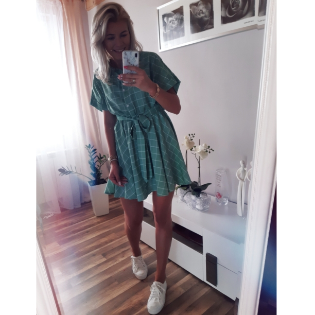 Elegant Plaid Sashes Women Dress Short Sleeve A Line Casual Streetwear Female Short Dress Button Summer Dress photo review