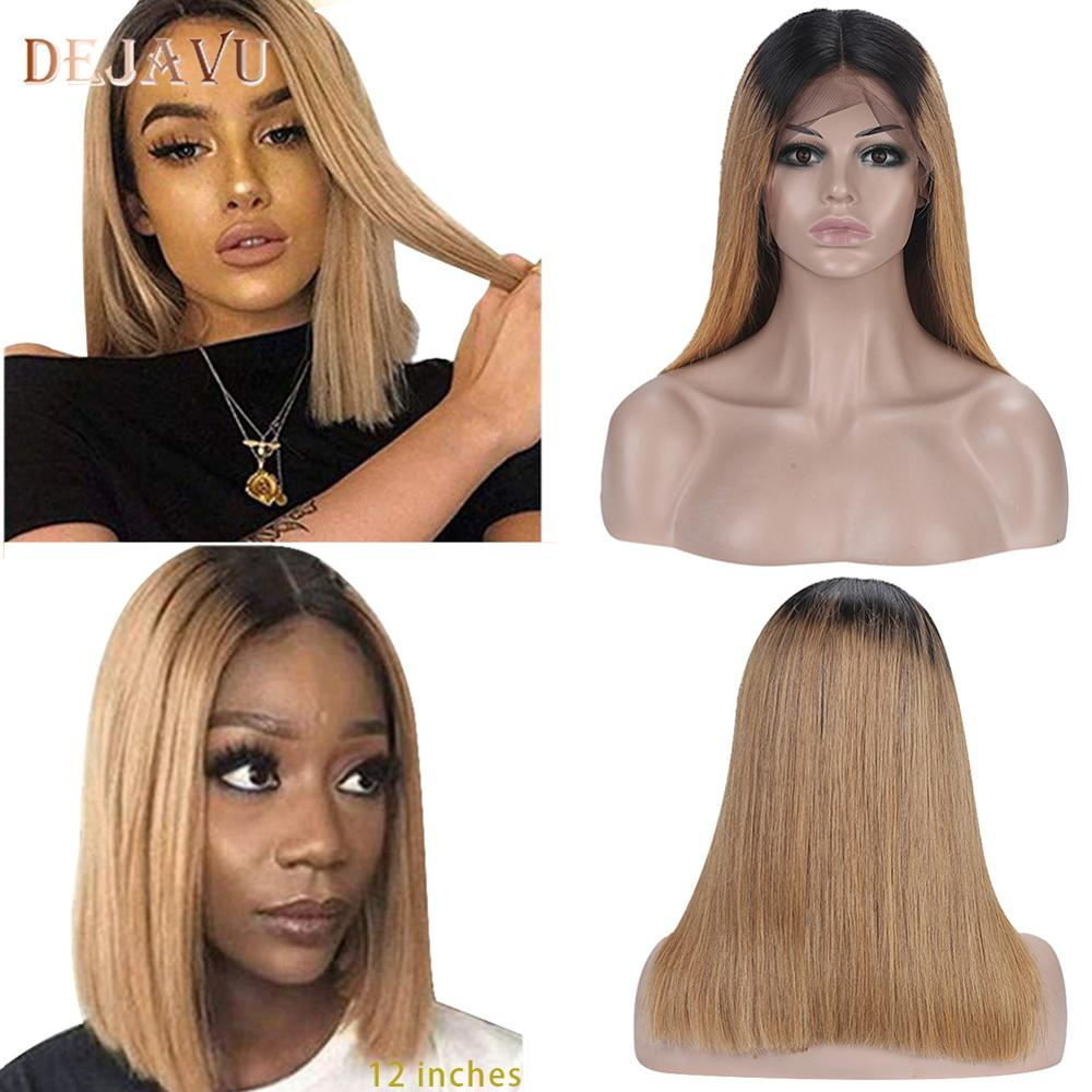 Dejavu 13x4 Straight Honey Blond Ombre Color Highlight 130% 150% Lace Front Human Hair Wigs For Women Remy Brazilian 1B#27 Wig