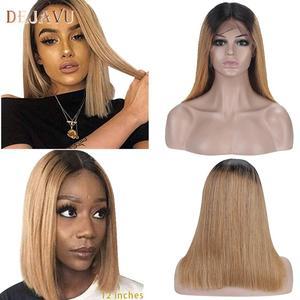 Dejavu блонд прямые волосы парик фронта шнурка человеческие волосы парики 13х4 кружева 1B27 бразильские волосы Remy парики для женщин 130% предварите...