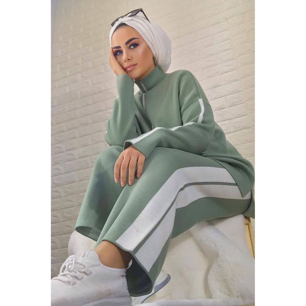 2 Pieces Knitwear Stripe Detailed Muslim Women's Double Muslim Set Pullover and Pants Trousers Muslim Fashion Turkey Dubai 2021