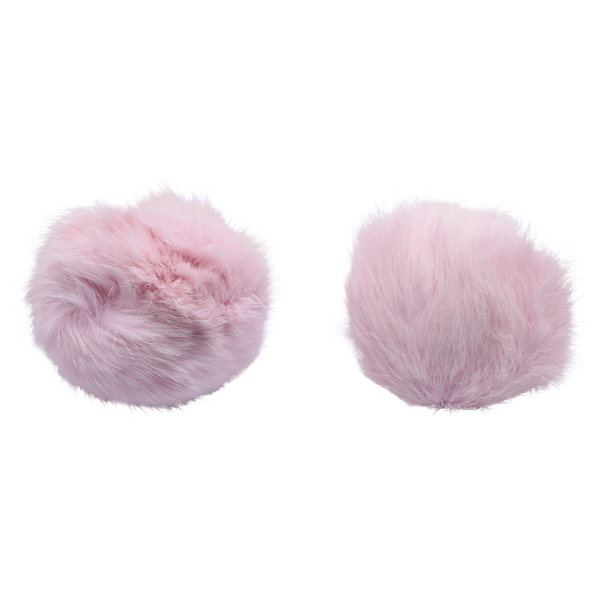 Pompon Made Of Natural Fur (rabbit), D-10cm, 2 Pcs/pack (to Pink)