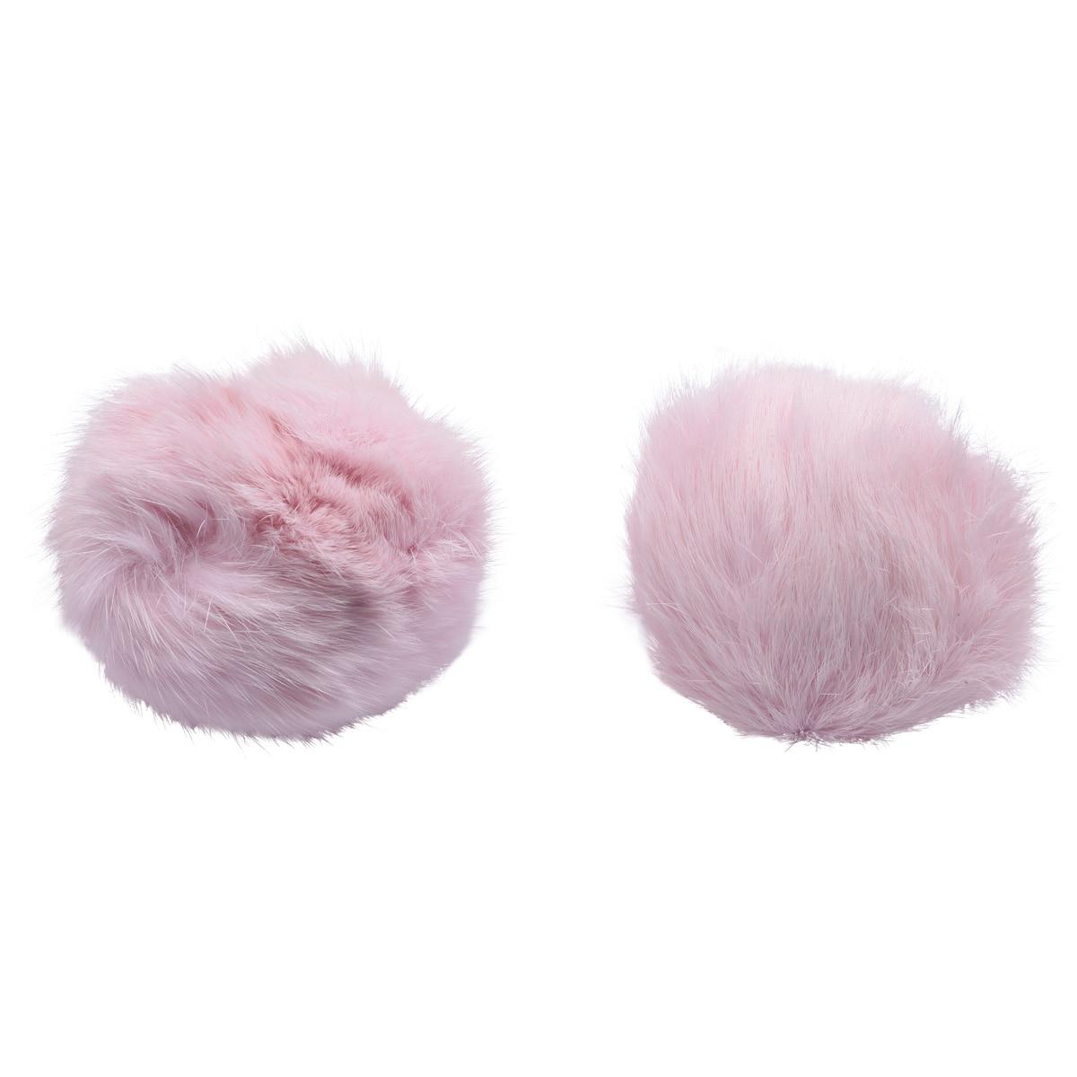 Pompon Made Of Natural Fur (rabbit), D-10cm, 2 Pcs/pack (to Pink)