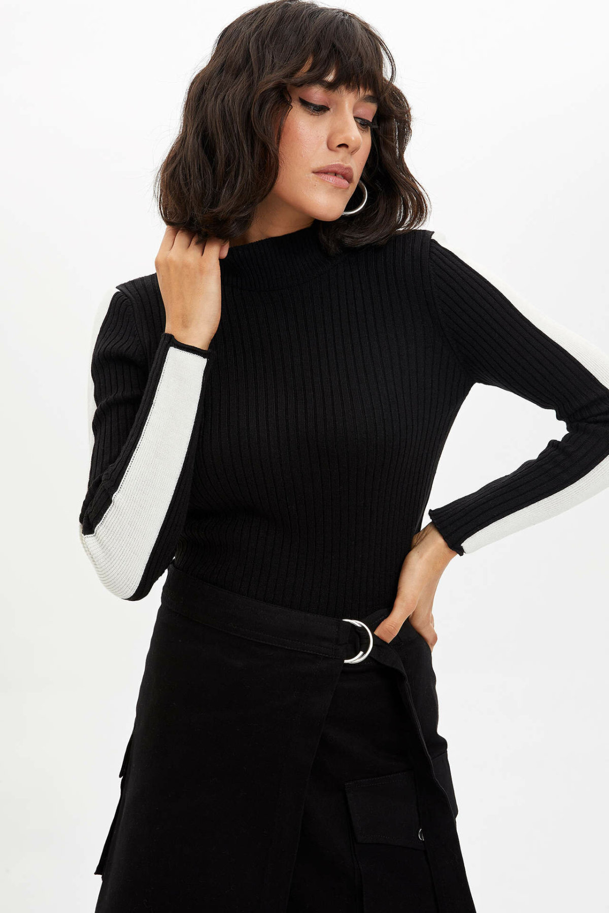 DeFacto Women Turtleneck Pullovers Skirt Sets Ladies Skinny Solid A-line Skirts Two-piece Female Clothing Autumn - L8853AZ19WN