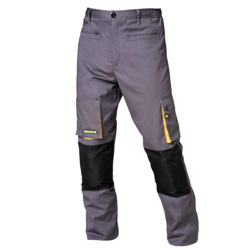 Pants Work Gray/Yellow Long Size 46/48 L