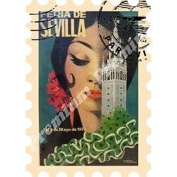 Мадрид Сувенирный магнит Винтажный туристический плакат