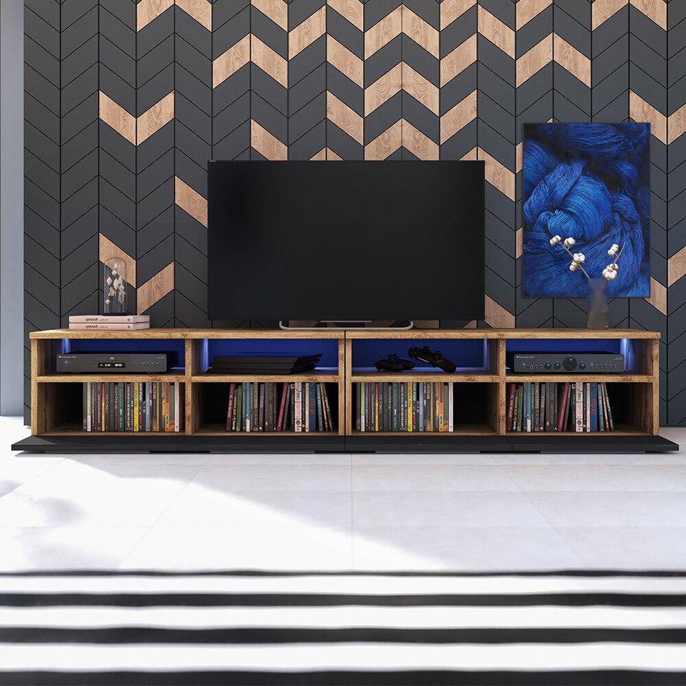 Selsey PHIRIS DOUBLE - Meuble tv / Banc tv (2x100 cm, chêne wotan / noir brillant, éclairage LED) 2
