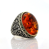 925 Sterling Silver Ring for Men Amber Dust Stone Jewelry fashion vintage Gift Onyx Agate Mens Rings All Size Made in Turkey