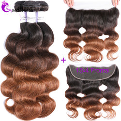 Ombre Body Wave Bundles With Frontal 1B430 Blonde Colored Bundles With Frontal Virgin Peruvian Hair Bundles With Closure Frontal