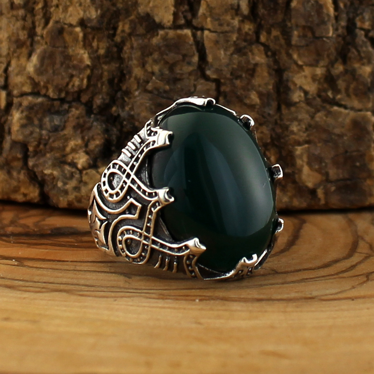 925 Silver Ring for Men with Green Aqeeq (Agate) Stone title=