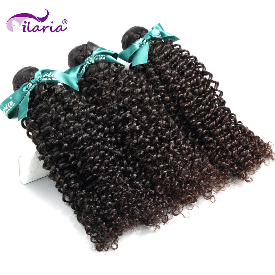 ILARIA HAIR Brazilian Kinky Curly Virgin Hair Unprocessed Curly Human Hair Bundles Weave Natural Color Human Hair Extensions