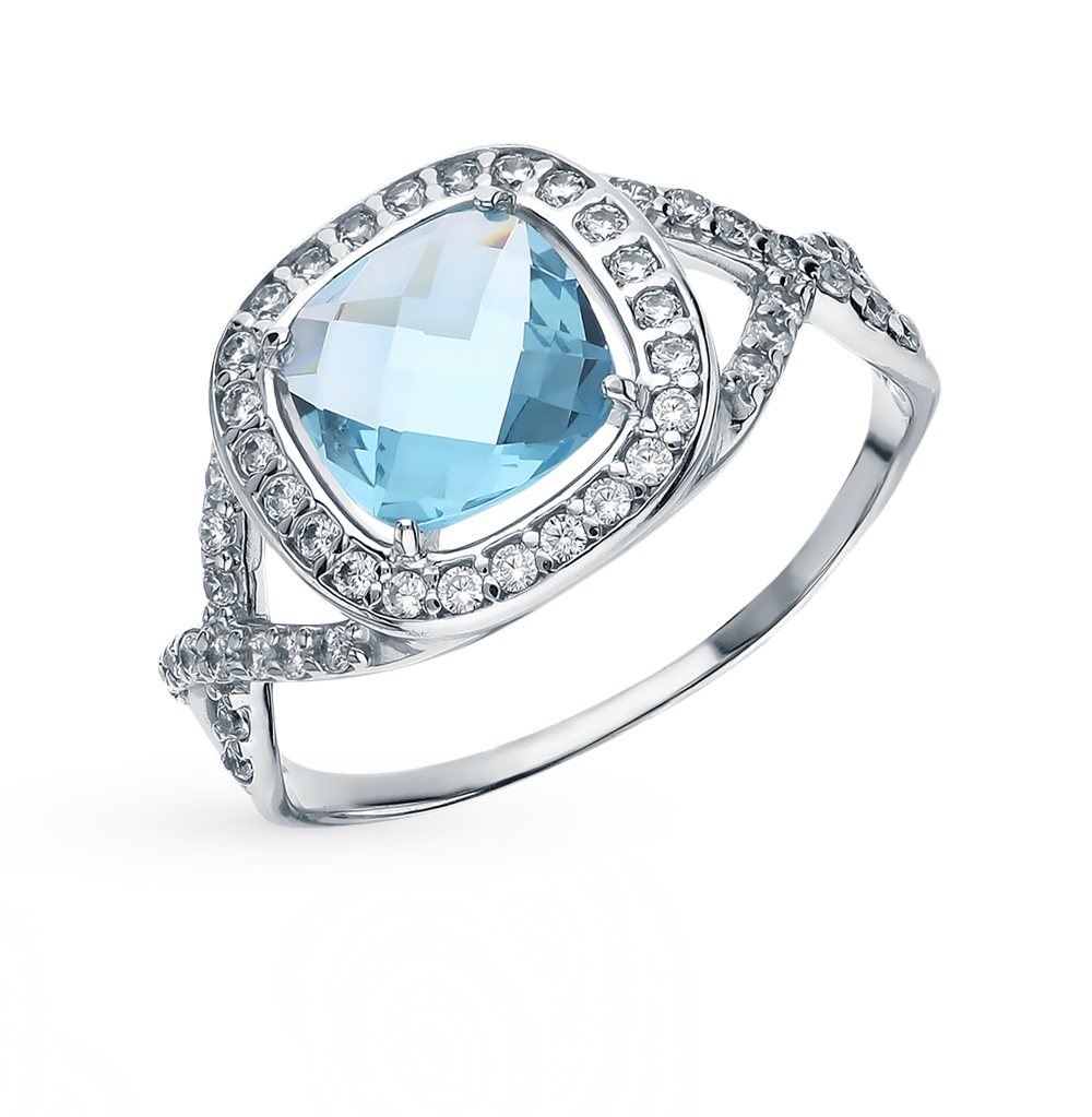 Silver Ring With Topaz And Cubic Zirconia SUNLIGHT Test 925