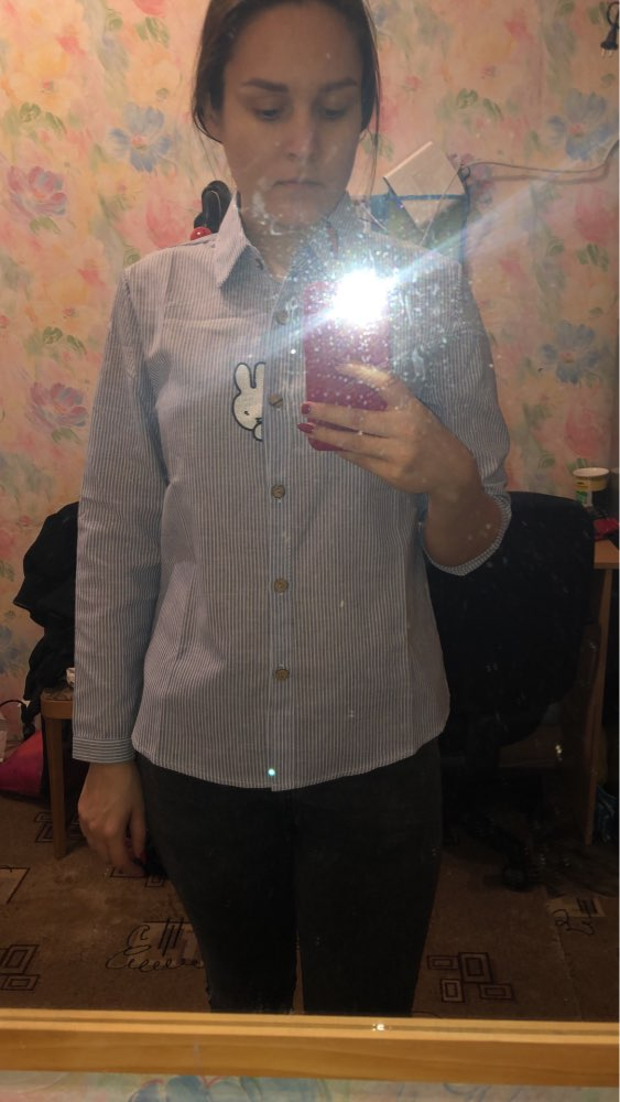 Rabbit Carrot Embroidery Blouses Women Striped Blouse Shirt Cotton Fashion Woman Blouses Women'S Long Sleeve Mori Girl Tops photo review