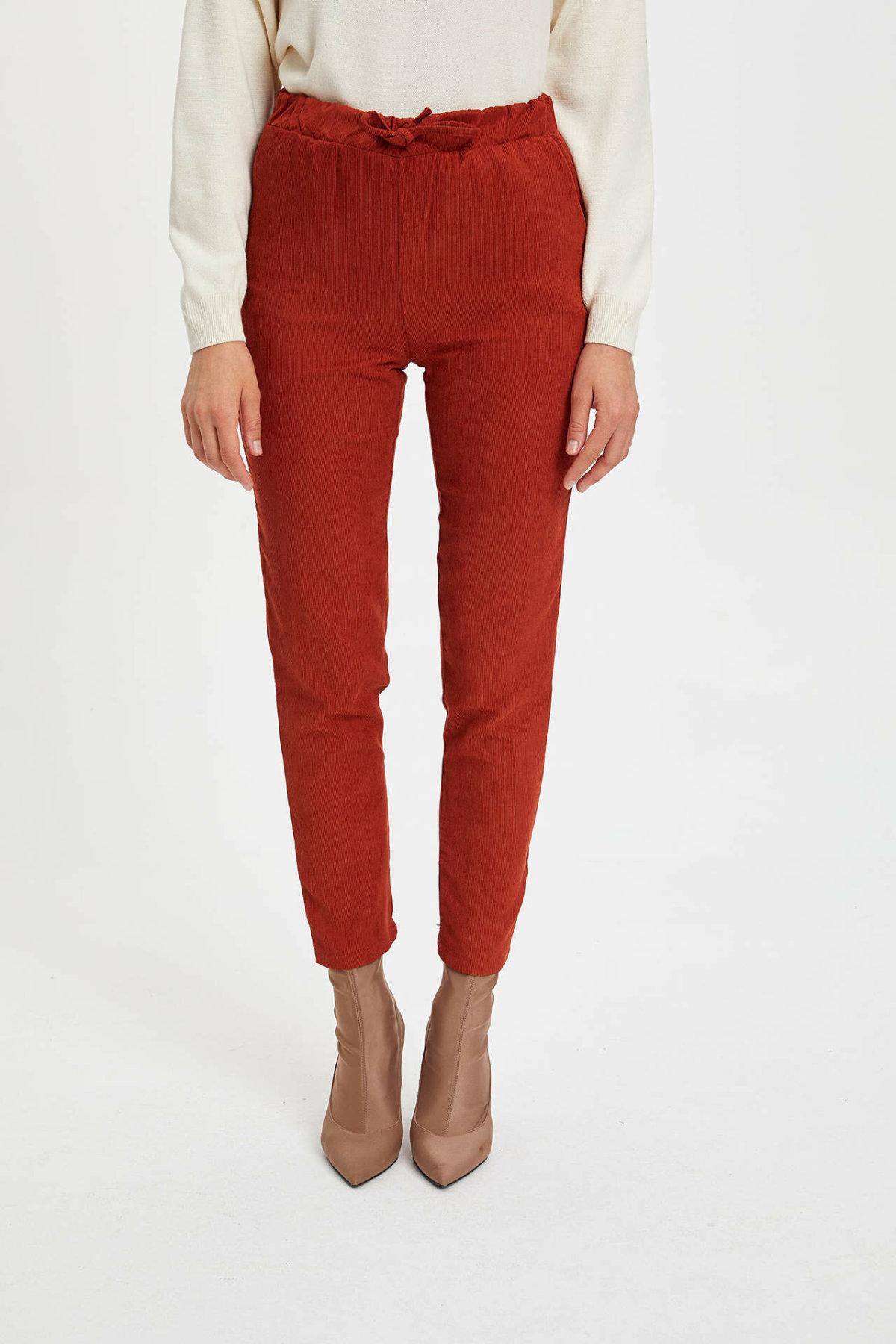 DeFacto Woman Fashion Skinny Trousers Women Corduroy Slim Long Pants Mid-waist Casual Female Bottoms-M8648AZ19WN