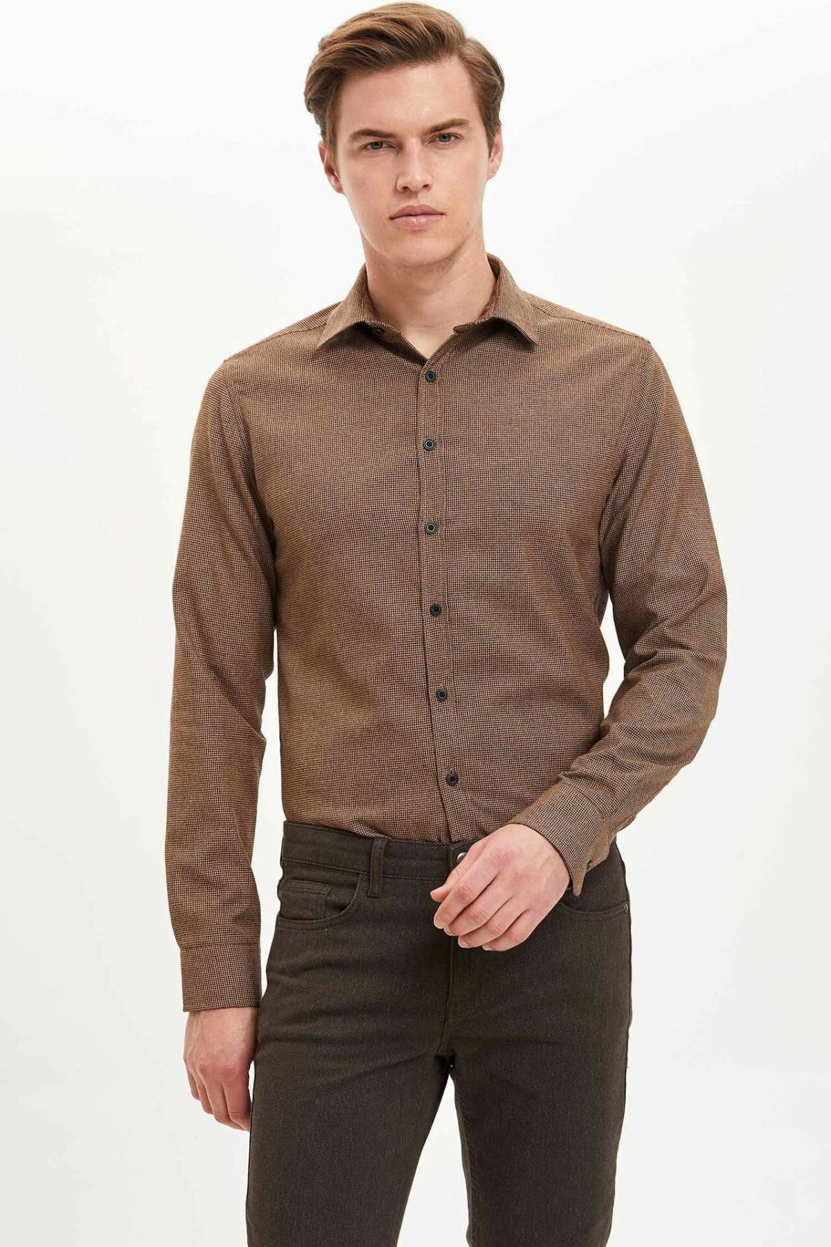 DeFacto Man Winter Solid Color Shirts Men Dark Khaki Color Top Shirts Women Smart Casual Long Sleeve Shirt-L9581AZ19WN