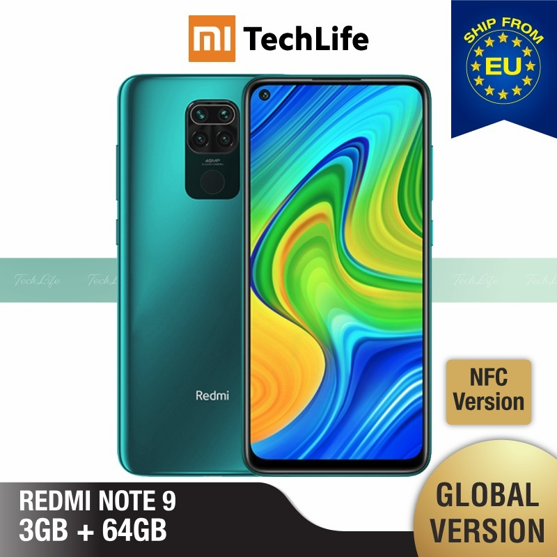 Global Version Xiaomi Redmi Note 9 3GB RAM 64GB ROM NFC (Brand New / Sealed) redminote9, note9, Smartphone mobile
