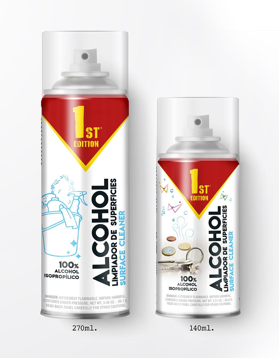 Spray 100% isopropyl alcohol, ...