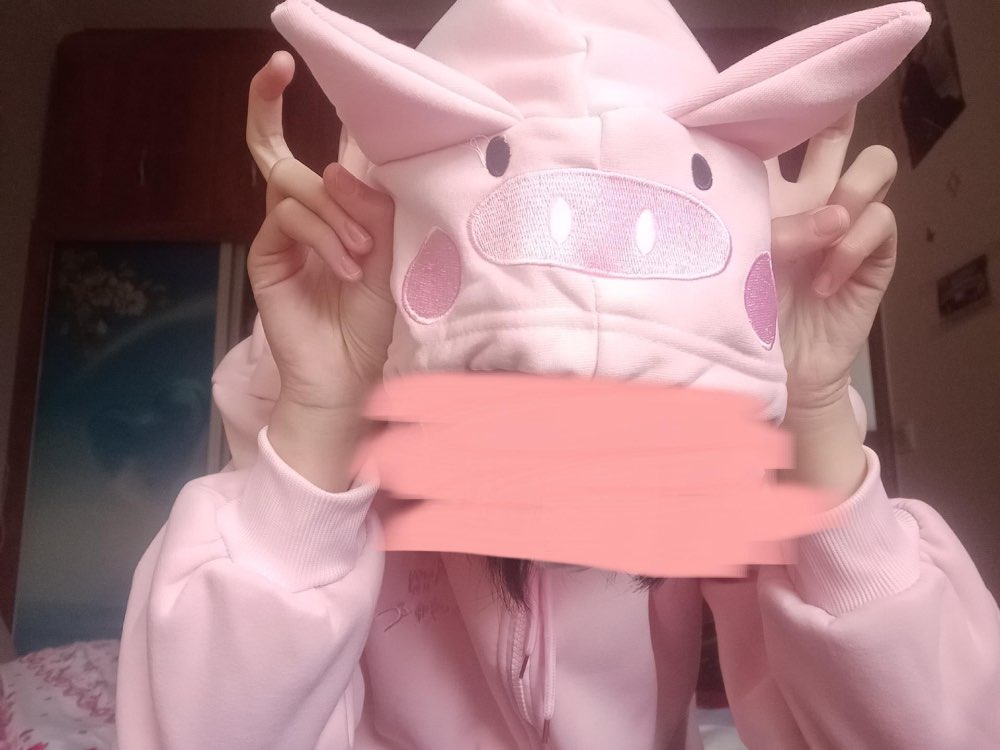 Kawaii Piggy Pink Zip Up Plus Velvet Hoodie